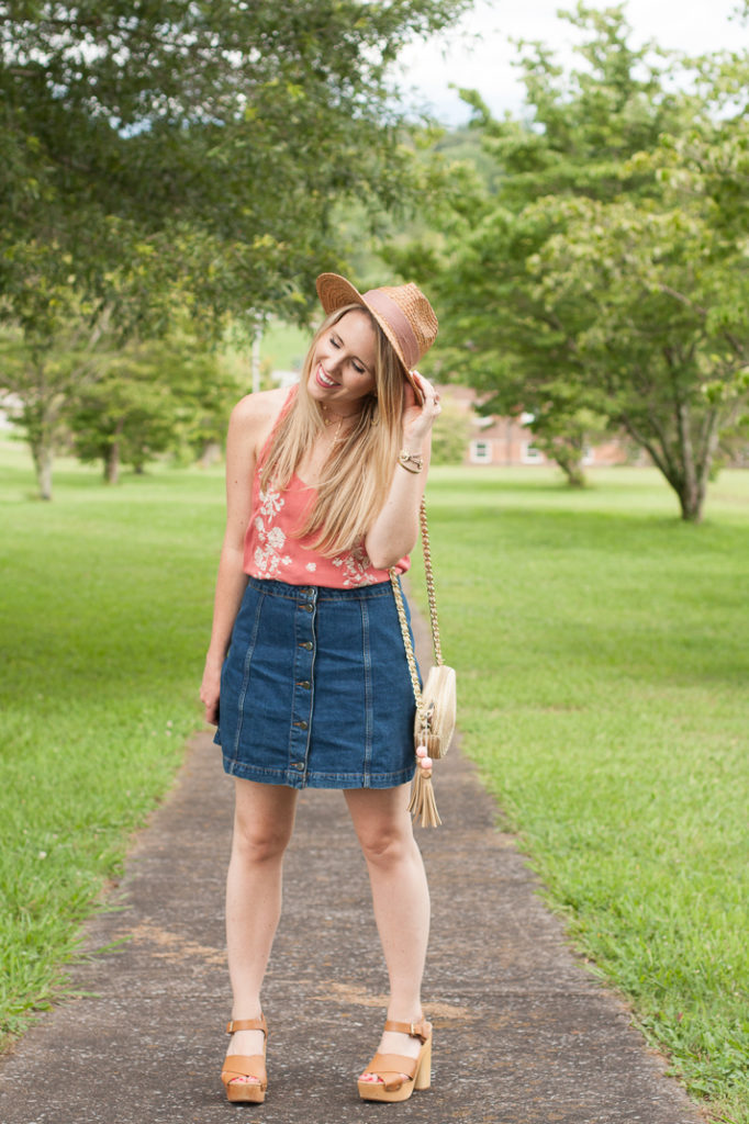 Dress Tucked Into A Denim Skirt