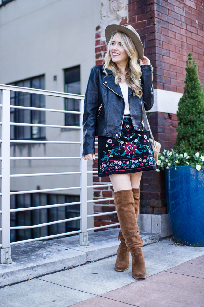 Mini Skirt and Leather Jacket