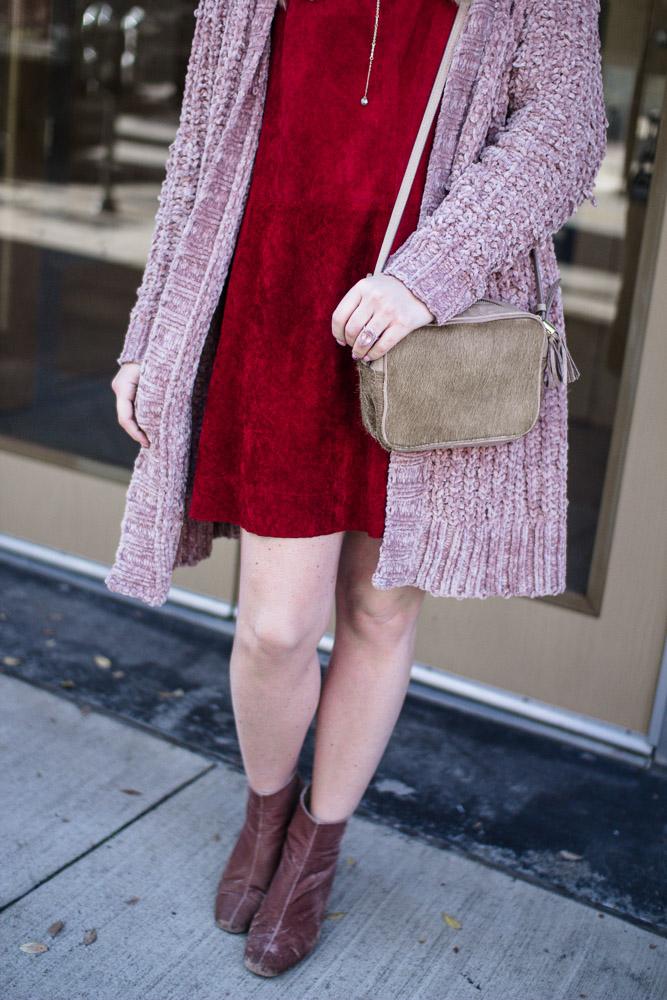 Rust Suede Mini Dress
