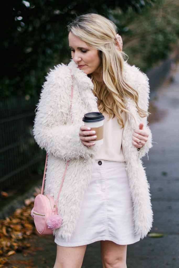 All White Outfit with Pops of Pink