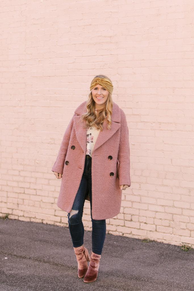 Pink Velvet Booties