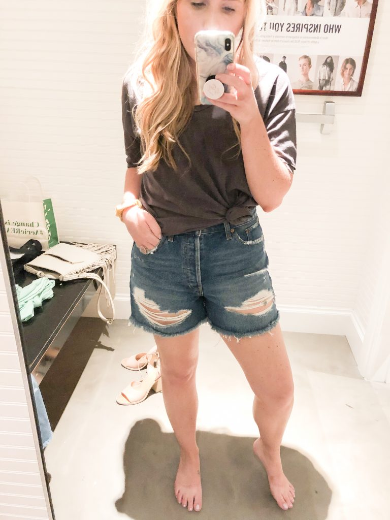 The Best of Denim Shorts for Thick Thighs featured by top Nashville fashion blogger, Pearls and Twirls: image of a woman wearing Abercrombie and Fitch high rise shorts