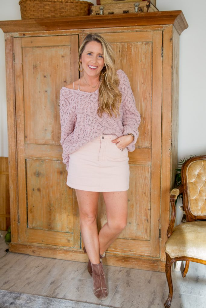 9d26d3ee774 Style. Inspire. Repeat. Blush Pink Denim Skirt - Pearls and Twirls
