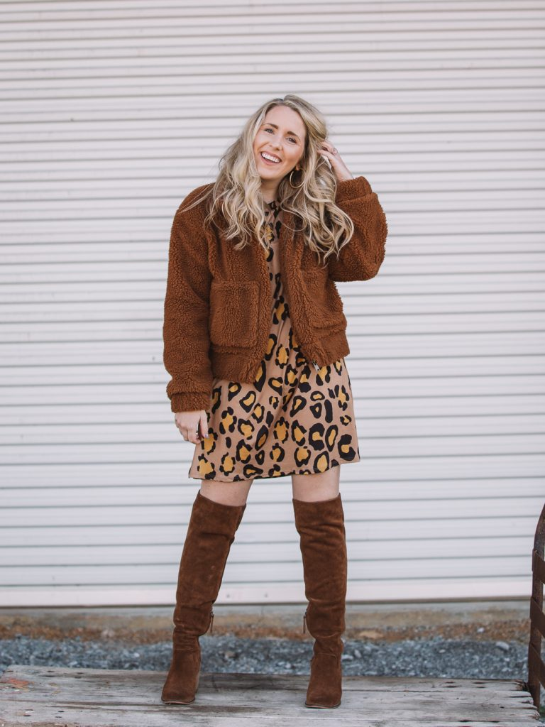 leopard dress with teddy coat