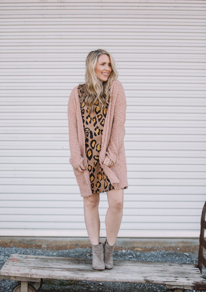 leopard dress layered with a cardi