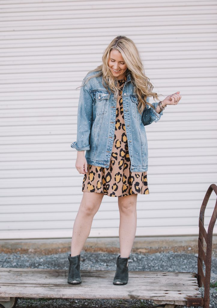 leopard dress with pearl denim jacket