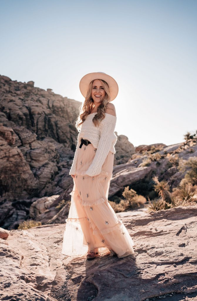 start a monat side hustle | Monat Business by popular Nashville lifestyle blog, Pearls and Twirls: image of a woman wearing a tan felt hat, cream knit off the shoulder sweater and an star sequin embellished maxi tulle skirt.