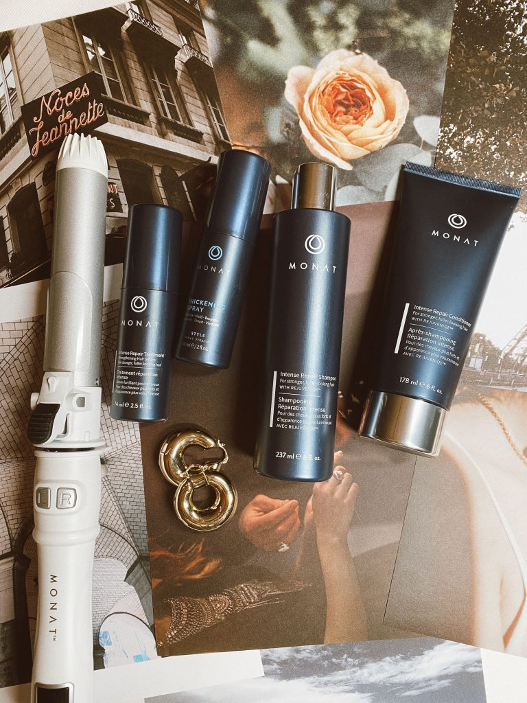 Monat Sale by popular beauty blog, Pearls and Twirls: image of Monat hair products and a Monat curling wand.