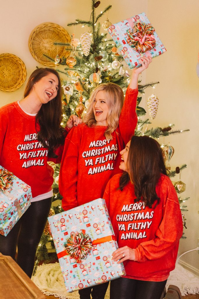 Christmas Favorites with My Kind of Lovely |My Kind of Lovely Christmas |My Kind of Lovely by popular Nashville fashion blog, Pearls and Twirls: image of three women standing in front of a Christmas tree and wearing My Kind of Lovely Christmas pajamas.