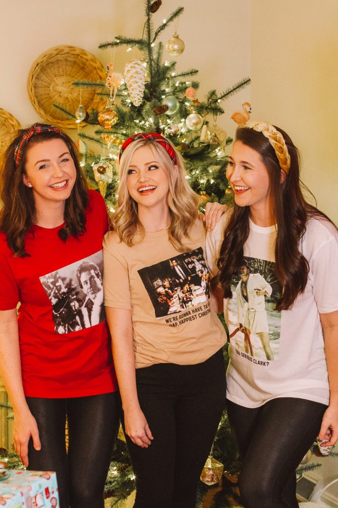 My Kind of Lovely Christmas |My Kind of Lovely by popular Nashville fashion blog, Pearls and Twirls: image of three women standing in front of a Christmas tree and wearing My Kind of Lovely Christmas tees.