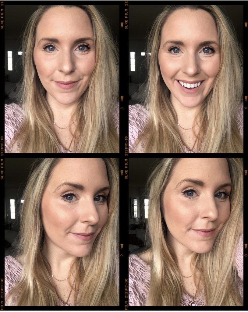 winter glow with 3 products |Beauty Products for Glowing Skin by popular Nashville beauty blog, Pearls and Twirls: collage image of a woman with glowing skin.