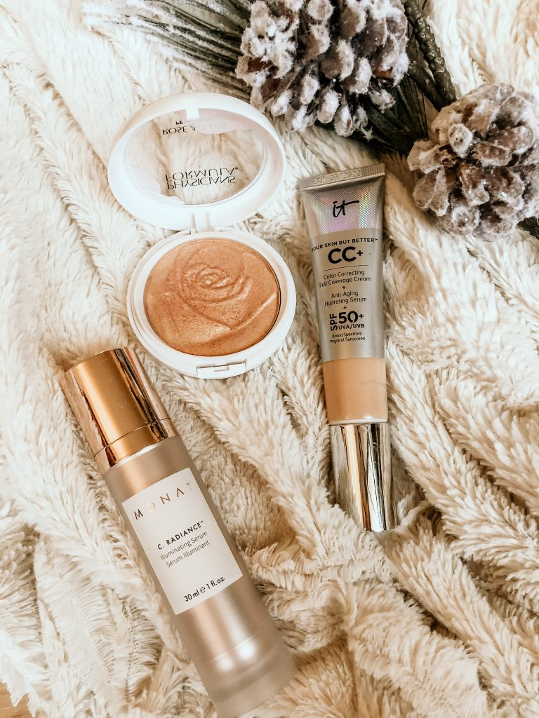 glowing skin must haves | Beauty Products for Glowing Skin by popular Nashville beauty blog, Pearls and Twirls: image of IT cc cream, Monat C. Raiancer, and Physician's formula  highlighting cream.