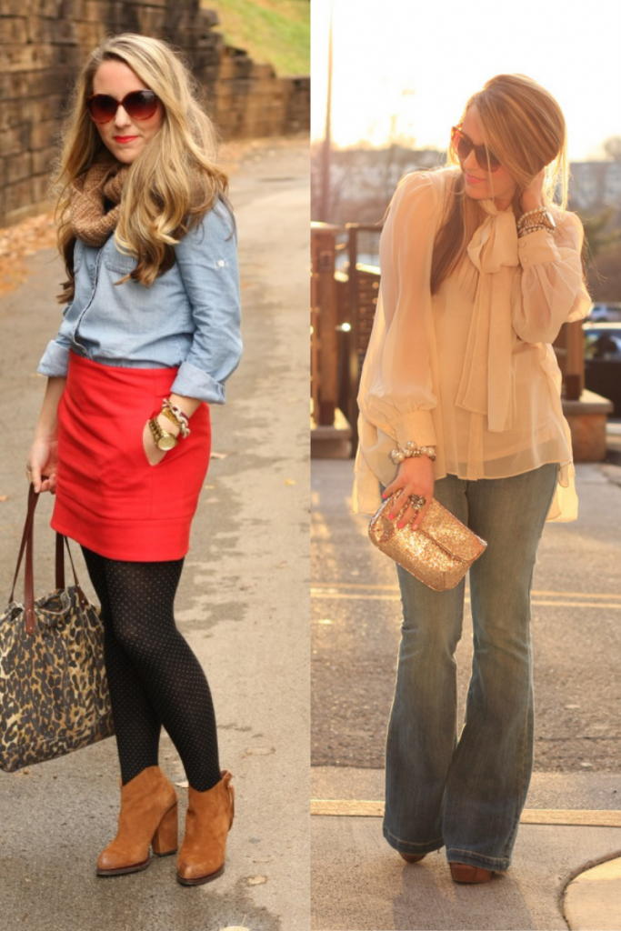 style blogging through the years |Style Blogging by popular Nashville fashion blog, Pearls and Twirls: collage image of a woman wearing a denim top, red mini skirt, black polka dot tights and brown suede ankle boots, and a chiffon long sleeve blouse and flare jeans.