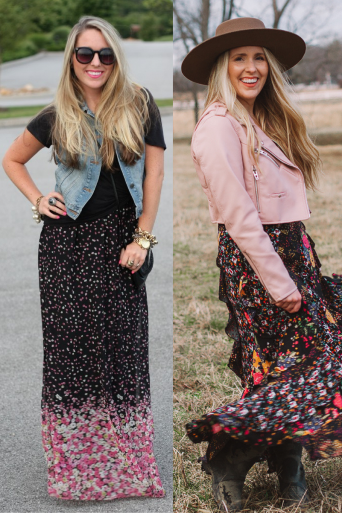 style blogging then and now | Style Blogging by popular Nashville fashion blog, Pearls and Twirls: collage image of a woman wearing floral print maxi skirts.