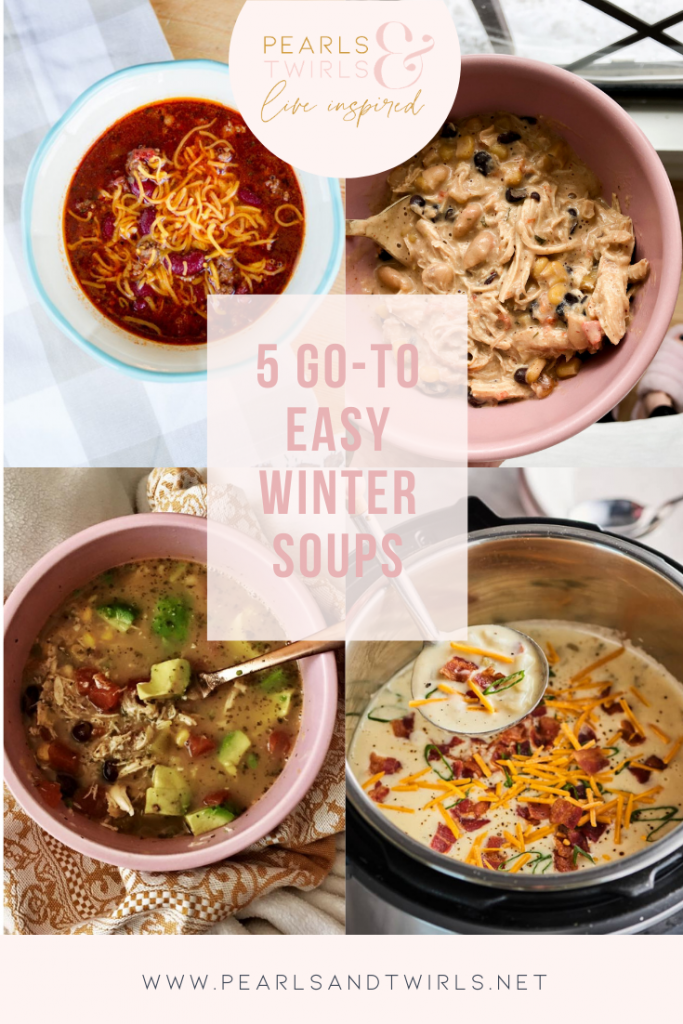 Easy Winter Soups by popular Nashville lifestyle blog, Pearls and Twirls: collage image of winter soups.