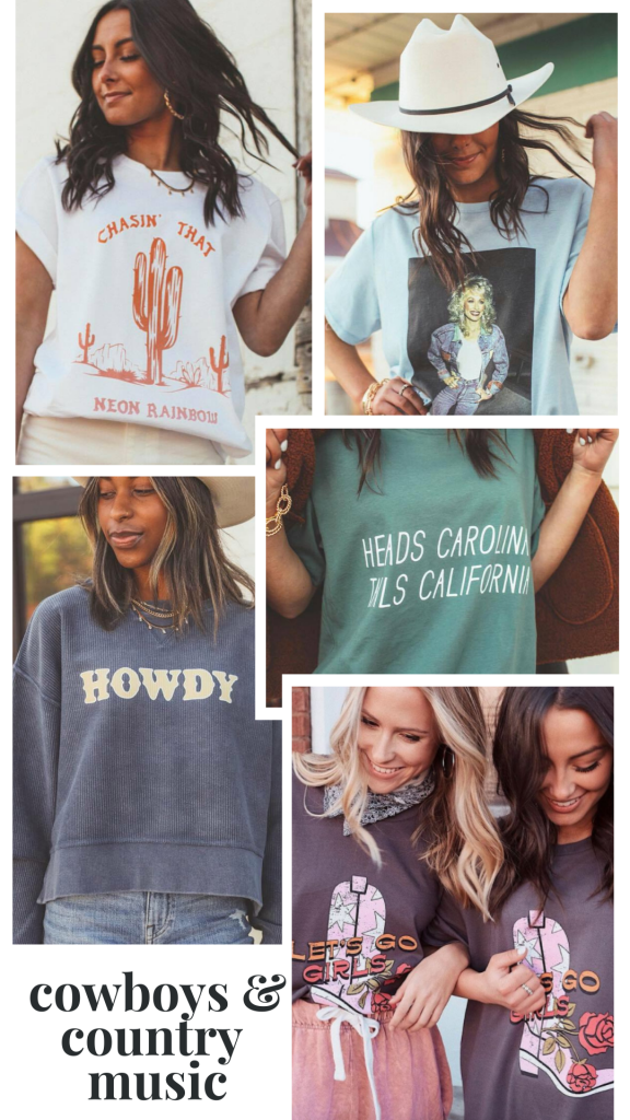 My Kind of Lovely by popular Nashville fashion blog, Pearls and Twirls: collage image of My Kind of Lovely Cowboys and Country Music clothing items.